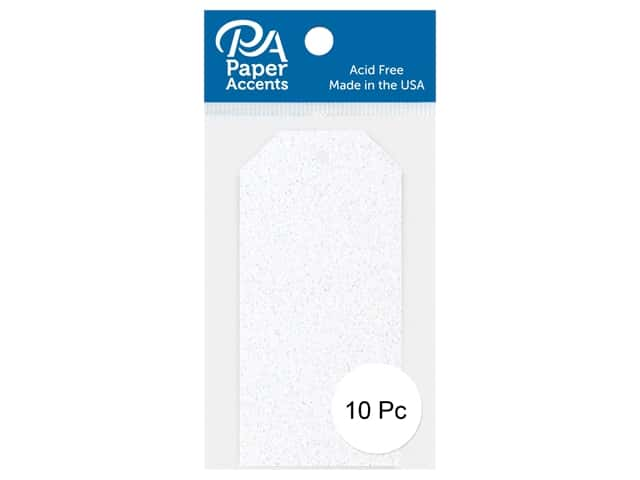 Paper Accents Craft Tags 1 5/8 x 3 1/4 in. 10 pc. Glitter White