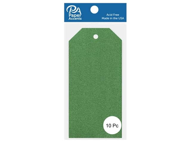Paper Accents Craft Tags 2 1/2 x 5 1/4 in. 10 pc. Glitter Green