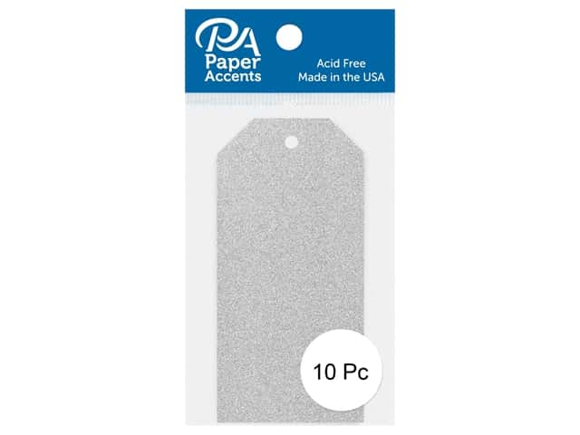 Paper Accents Craft Tags 1 5/8 x 3 1/4 in. 10 pc. Glitter Silver