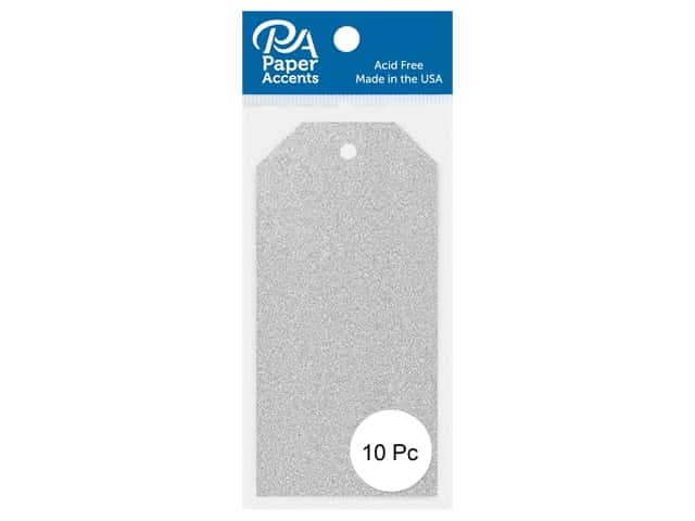 Paper Accents Craft Tags 2 1/8 x 4 1/4 in. 10 pc. Glitter Silver