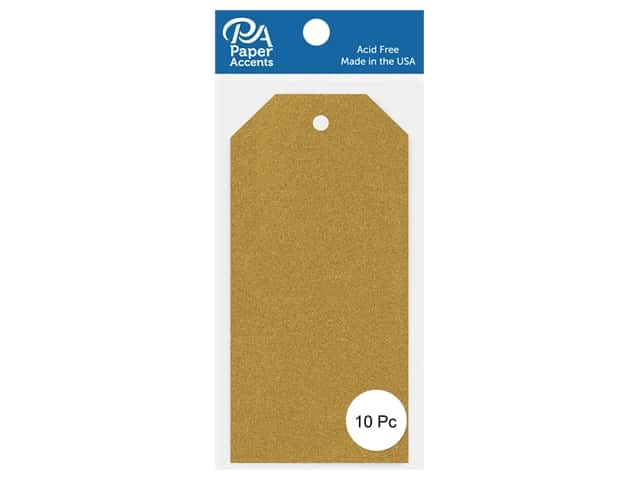Paper Accents Craft Tags 2 1/2 x 5 1/4 in. 10 pc. Glitter Gold