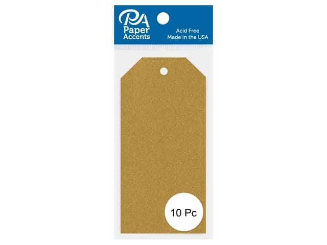 Paper Accents Craft Tags 2 1/8 x 4 1/4 in. 10 pc. Glitter Gold