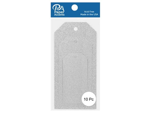 Paper Accents Craft Tags Assorted Sizes 10 pc. Glitter Silver