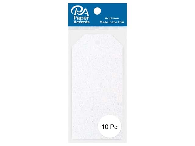 Paper Accents Craft Tags 2 1/8 x 4 1/4 in. 10 pc. Glitter White