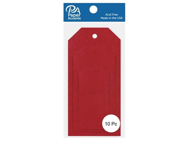 Paper Accents Craft Tags Assorted Sizes 10 pc. Glitter Red
