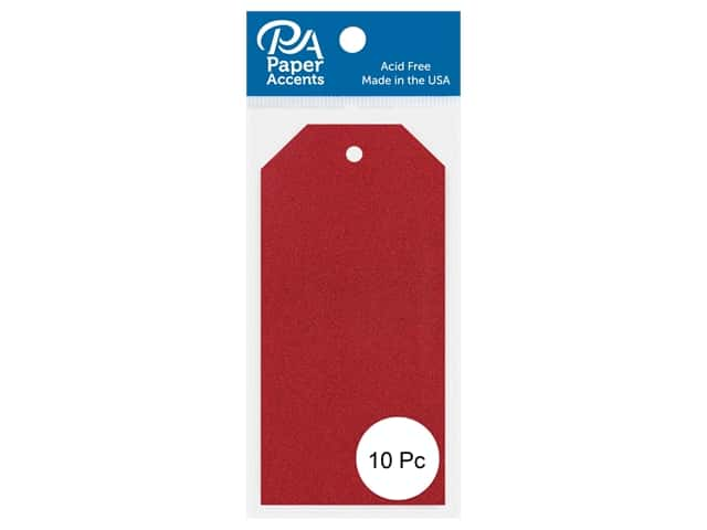 Paper Accents Craft Tags 2 1/8 x 4 1/4 in. 10 pc. Glitter Red