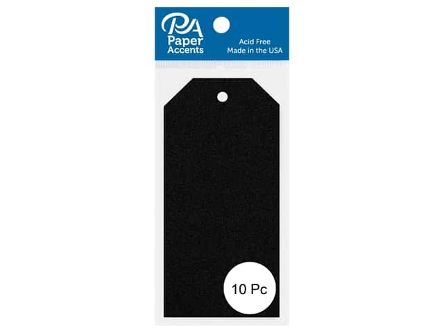 Paper Accents Craft Tags 2 1/8 x 4 1/4 in. 10 pc. Glitter Black