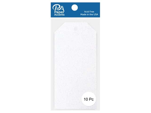 Paper Accents Craft Tags 2 1/2 x 5 1/4 in. 10 pc. Glitter White