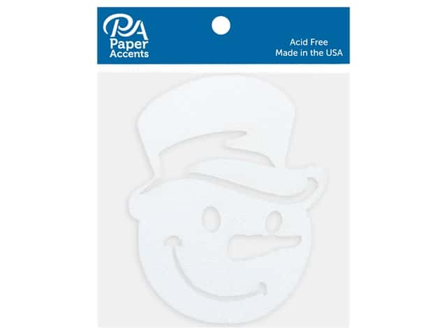 Paper Accents Glitter Shapes Snowman Face With Hat White 4 pc