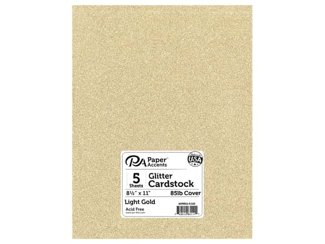 Paper Accents Glitter Cardstock 8 1/2 x 11 in. Light Gold 5 pc.