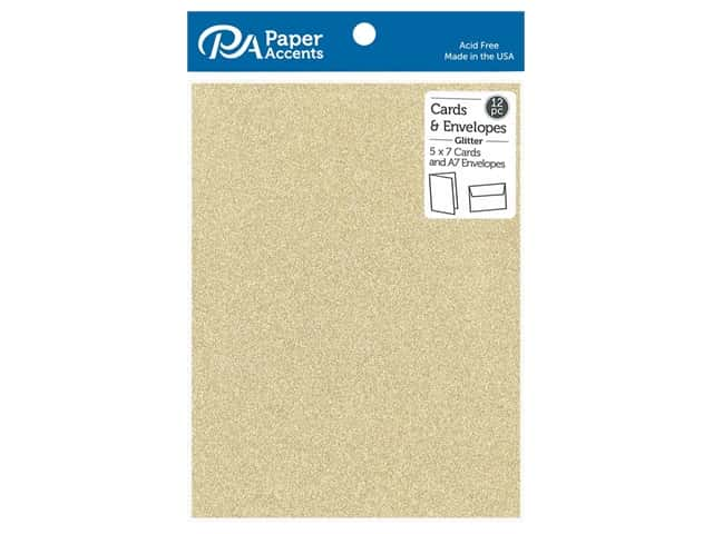 Paper Accents 5 x 7 in. Blank Card & Envelopes 12 pc. Glitter Light Gold