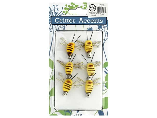 Sierra Pacific Bee With Clip 1.5 in.Yellow 6 pc