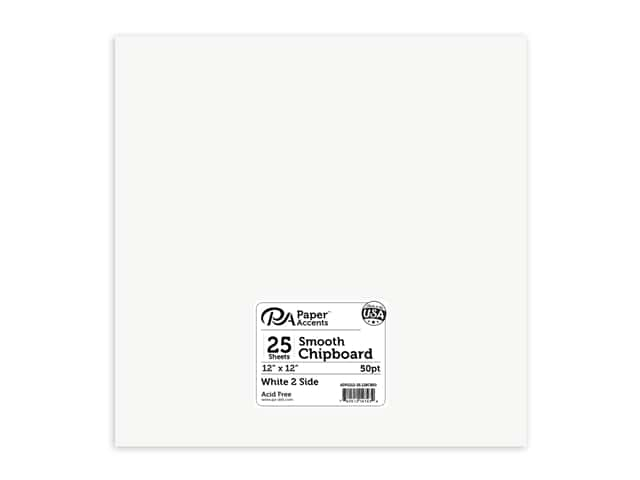Paper Accents Chipboard 12 x 12 in. 50 pt. Extra Heavy 2-Sided White 25 pc.