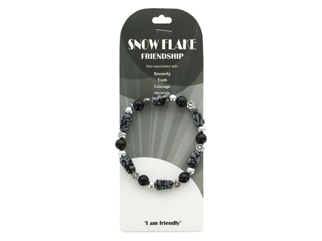 John Bead Semi Precious Stretch Bracelet Snow Flake 122