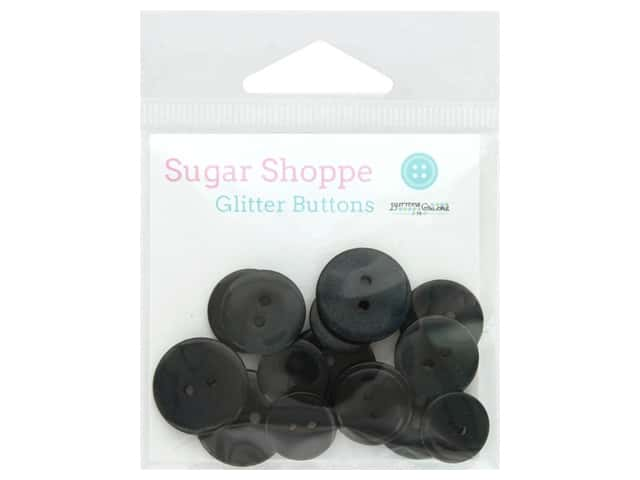 Buttons Galore Sugar Shoppe Glitter Buttons 15 pc.  Onyx