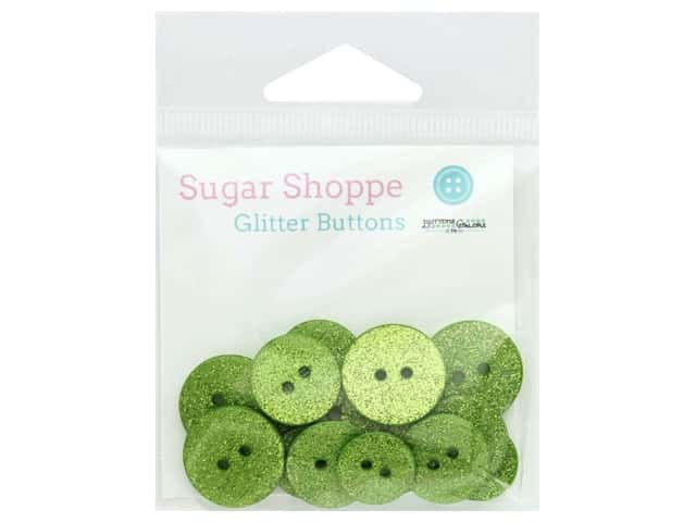 Buttons Galore Sugar Shoppe Glitter Buttons 15 pc. Granny Smith