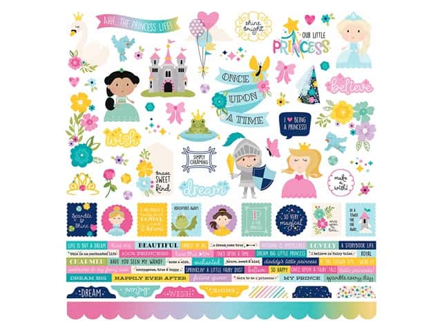 Simple Stories Collection Little Princess Sticker Combo 12 in. x 12 in.