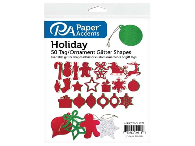 Paper Accents Glitter Shape Tags Ornaments Assorted Holiday 50 pc