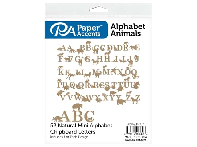 Paper Accents Chip Shape Alphabet Animal 52 pc Natural