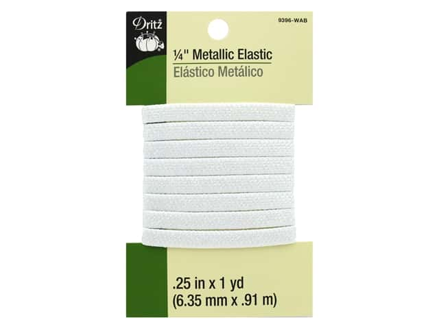 Dritz Metallic Elastic 1/4 in. x 1 yd. White AB
