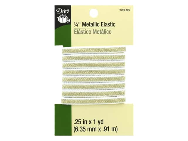 Dritz Metallic Elastic 1/4 in. x 1 yd. White Gold