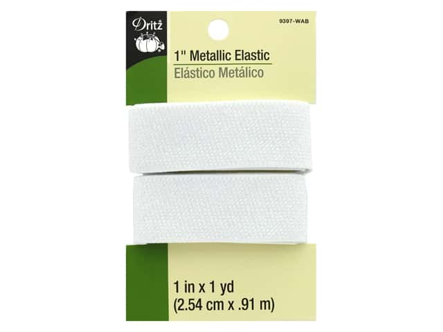 Dritz Metallic Elastic 1 in. x 1 yd. White AB