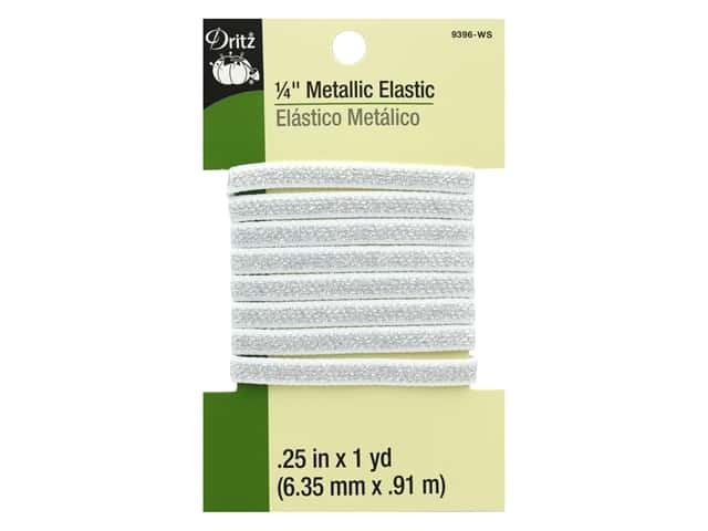 Dritz Metallic Elastic 1/4 in. x 1 yd. White Silver