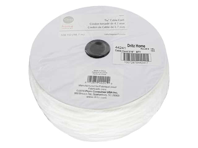 Dritz Home Cable Cord 3/16 in. x 108 yd. White