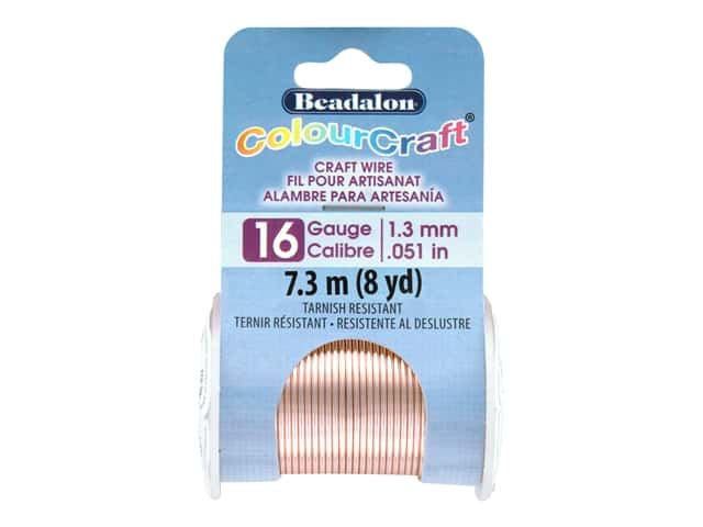 Beadalon ColourCraft Tarnish Resistant Copper Wire Tarnish Resistant 16 ga Rose Gold 8 yd