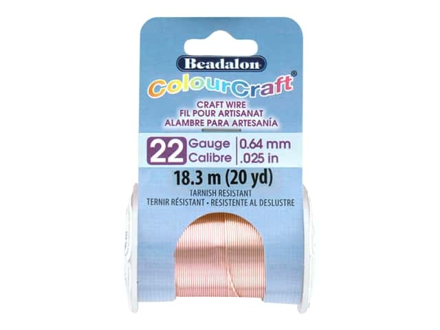 Beadalon ColourCraft Tarnish Resistant Copper Wire Tarnish Resistant 22 ga Rose Gold 20 yd