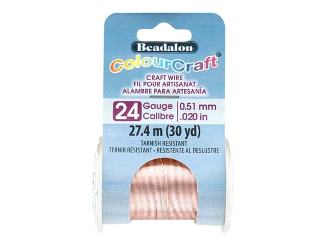 Beadalon ColourCraft Tarnish Resistant Copper Wire Tarnish Resistant 24 ga Rose Gold 30 yd