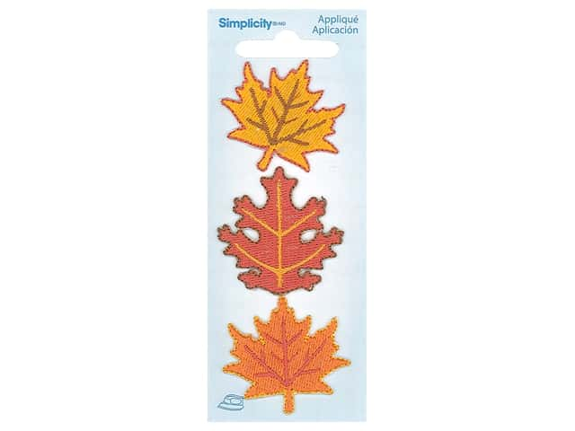 Simplicity Applique Iron On Fall Leaves 3 pc