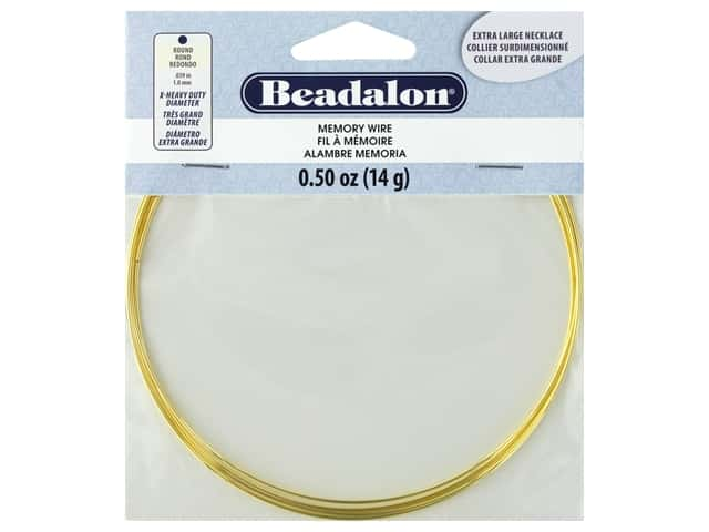 Beadalon Memory Wire Necklace Round Extra Large Gold .5 oz