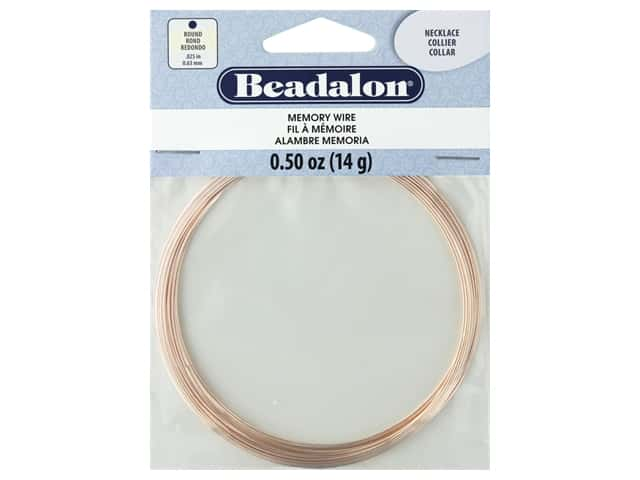 Beadalon Memory Wire Necklace Round Rose Gold .5 oz