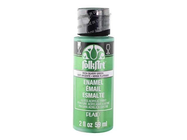 Plaid FolkArt Enamels Paint 2 oz. Metallic Silvery Green