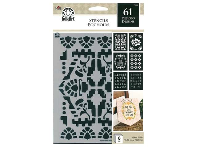 Plaid FolkArt Craft Stencils Value Packs - Boho Ornamental