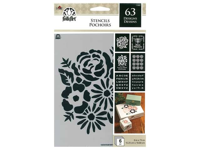 Plaid FolkArt Craft Stencils Value Packs - Floral Tradition