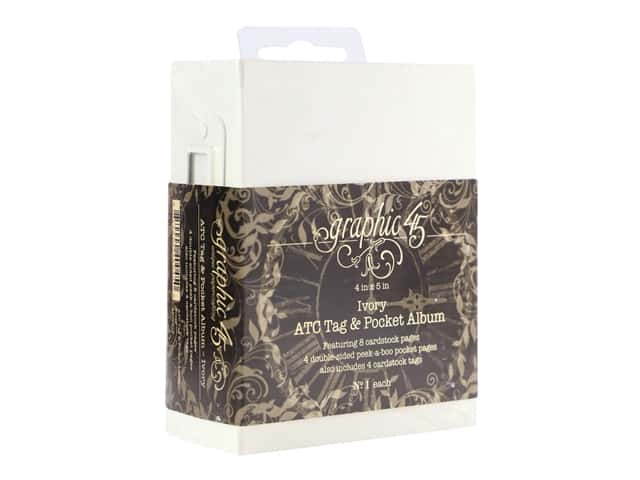 Graphic 45 Staples ATC Album 4 in. x 5 in. Tag & Pocket Ivory