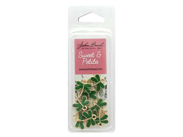John Bead Sweet & Petite Charm Dragonfly Green 10 pc