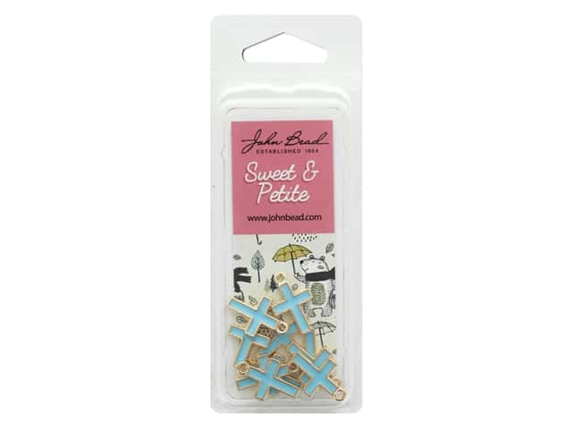 John Bead Sweet & Petite Charm Cross Light Blue 10 pc