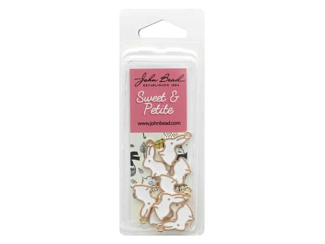 John Bead Sweet & Petite Charm Bunny Rabbit White 10 pc