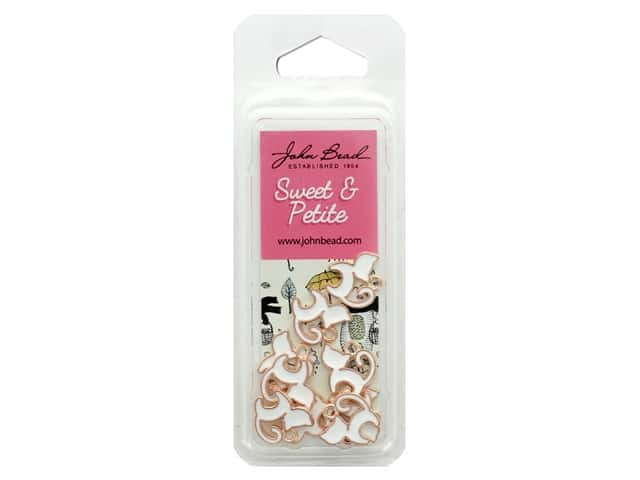 John Bead Sweet & Petite Charm Kitty Cat White 10 pc
