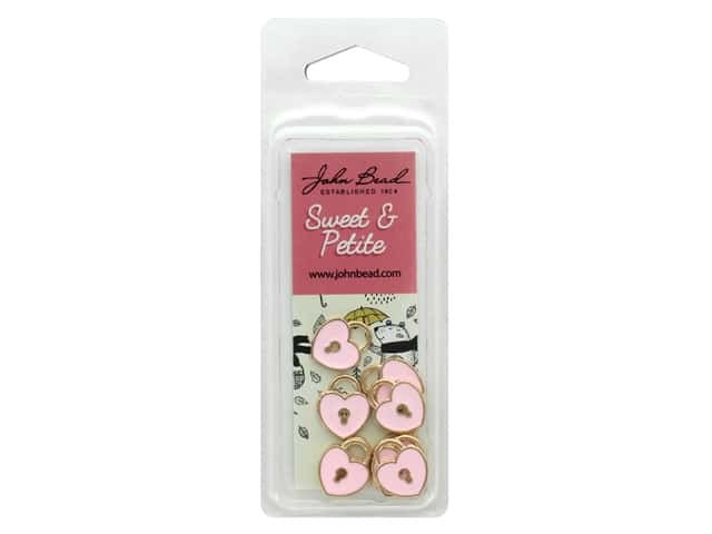 John Bead Sweet & Petite Charm Heart Locket Pink 10 pc