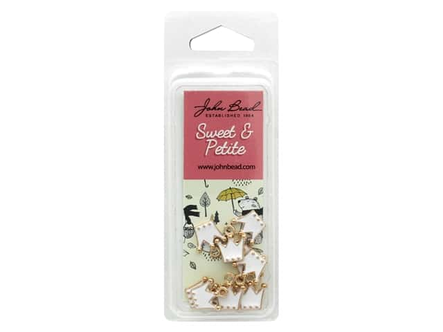 John Bead Sweet & Petite Charm Crown White 10 pc