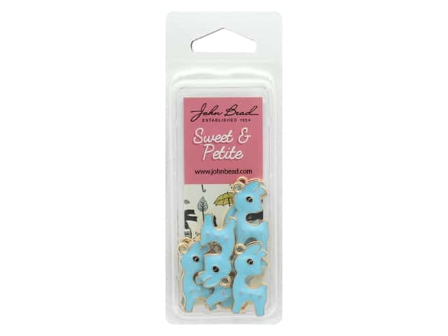John Bead Sweet & Petite Charm Deer Light Blue 8 pc