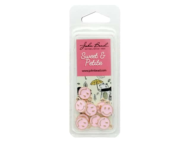 John Bead Sweet & Petite Charm Happy Face Pink 10 pc
