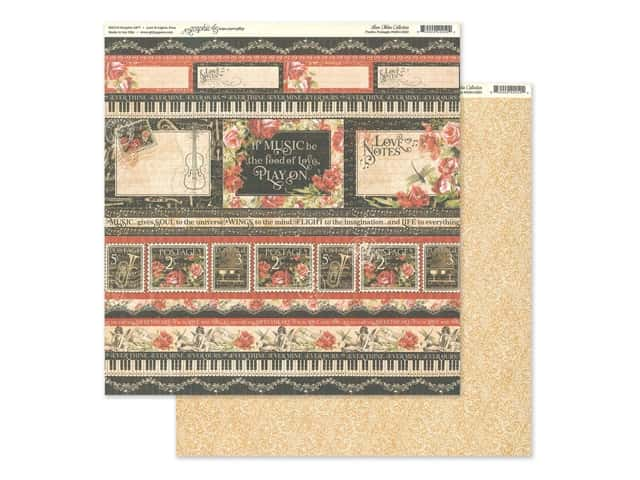 Graphic 45 Collection Love Notes Paper 12 in. x 12 in. Poetic Postage