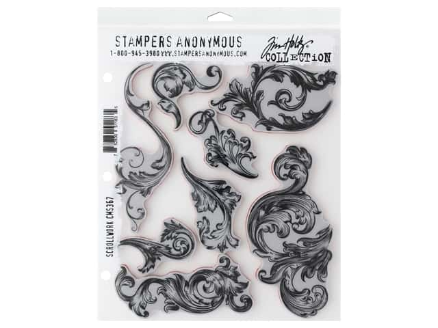 Stampers Anonymous Tim Holtz Cling Mount Stamp Set - Scrollwork