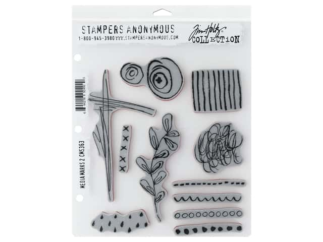 Stampers Anonymous Tim Holtz Cling Mount Stamp Set - Media Marks #2