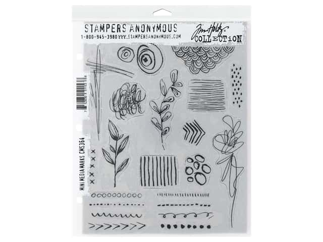 Stampers Anonymous Tim Holtz Cling Mount Stamp Set - Media Marks Mini
